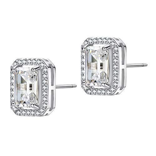 (EGOO&YAMEE Silver Square Halo Cubic Zirconia Earrings for Women White Gold Plated April Birthstone Cluster Stud Earring Mother's Day Gifts)