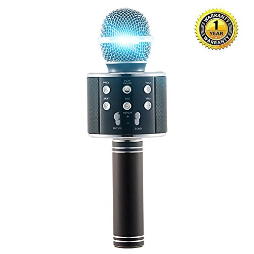 Party Microphone (Karaoke Microphone Wireless with Bluetooth Speaker for iPhone Android PC Smartphone Portable Handheld Microphone for Singing Recording Interviews or Kids Home KTV Party - Black)