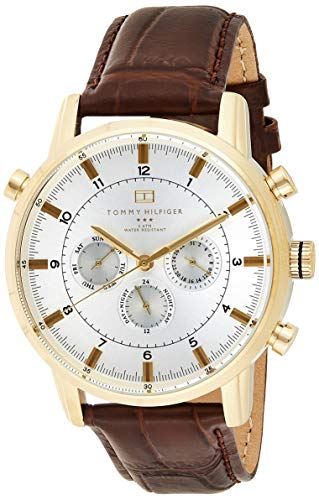 Tommy Hilfiger Men's 1790874 Gold-Tone Watch with Brown Leather Band (Tommy Hilfiger Online Shop Sale)
