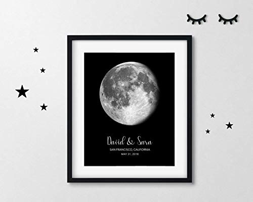 Personalized Lunar Phase of Love | Custom Moon Phase Anniversary Gift | Where We Met | Wedding Location | Your First Date | Your First Kiss (Moments Frame Photo Cherished)
