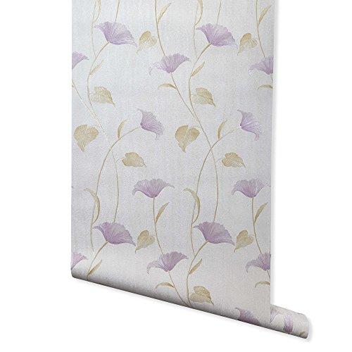 Fan Dandy, Lilac Floral Wallpaper for Walls – Double Roll – Romosa Wallcoverings AH7002
