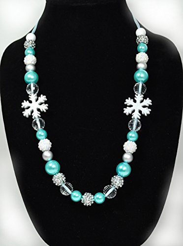 """Silli Me Jewels: """"Winter Snowflake"""" Necklace with Acrylic Beads and Snowflake Pendants"""