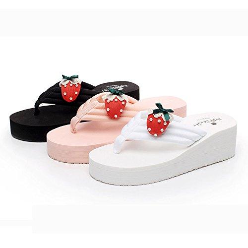 FEI Chanclas Sandalias de tacón alto Zapatillas femeninas de la manera del verano Zapatos de la playa (rosado / negro / blanco) Antidérapant ( Color : Negro , Tamaño : 35 ) Negro