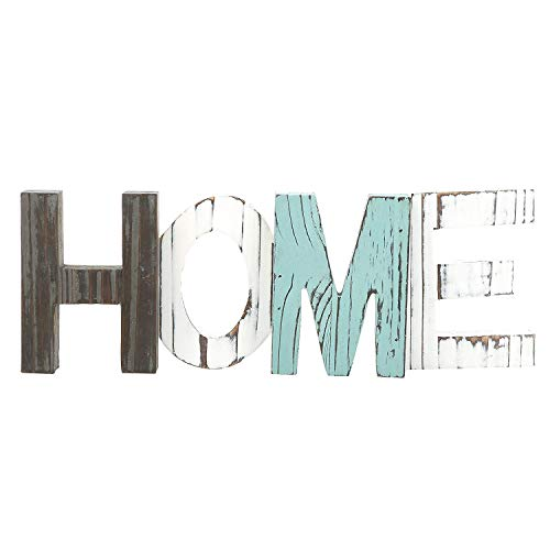 UNIQUELOVER Rustic Wood Home Decorative Sign, Standing Wooden Cutout Letters for Home, House, Living Room and Wall Decor, Multicolor (Home Letters)