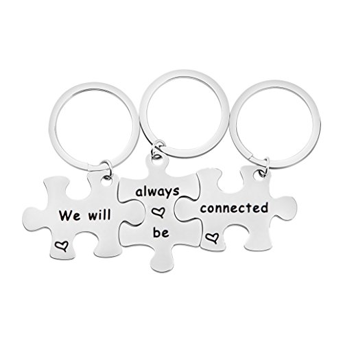 BOBAUNA We Will Always Be Connected Puzzle Keychain Set Of 3 Long Distance Gift For Best Friends Sisters (we will always be connected) Mens 3 Piece Gift