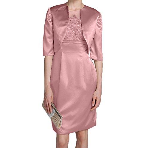 mit Abendkleider Charmant Etuikleider Promkleider Elegant Brautmutterkleider Rosa Langarm Jaket Damen Alt Partykleider Satin FqZ68aq