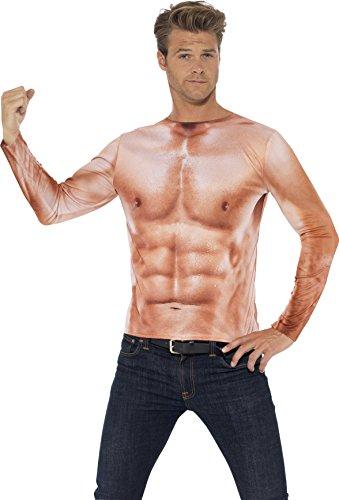 Muscle Costume Uk (Smiffy's Men's Realistic Muscle Top, Multi, Medium)