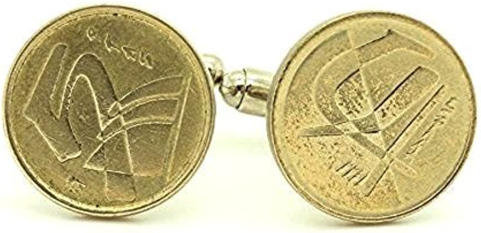 Gemelos moneda auténtica España 5 pesetas Juan C: Amazon.es: Joyería