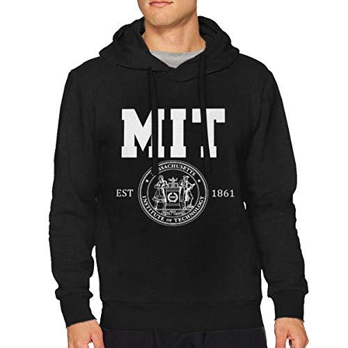 VicRomanko Man Massachusetts Institute of Technology MIT Logo Long Sleeve\r\n Sports Drawstring Sweatshirt L Black (Sport Mit R-logo)