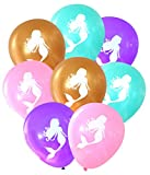 Mermaid Balloons (16 pcs) by Nerdy Words (Aqua, Purple, Pink, Gold)