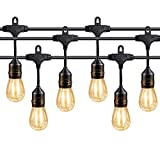 Teletrogy 48FT IP65 Weatherproof LED Outdoor String Lights UL Listed Vintage Hanging Edison Bulbs Heavy Duty Commercial Grade Patio/Gazebo Lights 16 x S14 2W LED Bulbs –Black