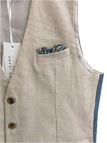 Beige Fronte Gilet Homme Azzurro Jeans two Y Retro fIqwXBxz