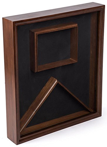 Displays2go, Military Shadow Boxes, Pine Wood and Glass Construction, Velvet Backing – Cherry Finish (FCC595LACH) by Displays2go