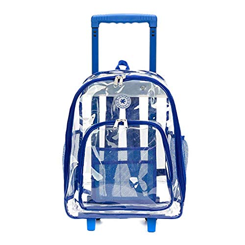 Rolling Clear Backpack Heavy Duty Bookbag Quality See Through Workbag Travel Daypack Transparent School Book Bags with Wheels Royal Blue