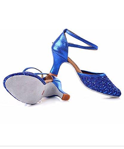 Carrée 7cm Hauteur Modernes Talon Danse Shangyi De Latine Femme Chaussures Fond Avec De Femme Amitié Bleu Chaussures Chaussures Adulte De Haut Danse Danse Mou BFZxqwC