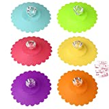 kuou 6 Pcs Reusable Anti-dust Cup Covers, Food-grade Silicone Drink Glass Cup Lids, Creative Round Diamond Mug Cover