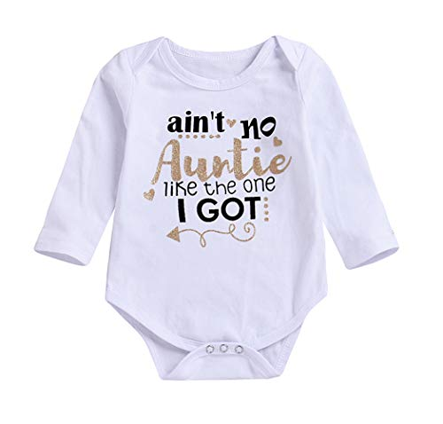 Younger Tree Newborn Baby Auntie Letter Print Long Sleeve Romper Infant Warmer Clothing (White, 3-6M) -