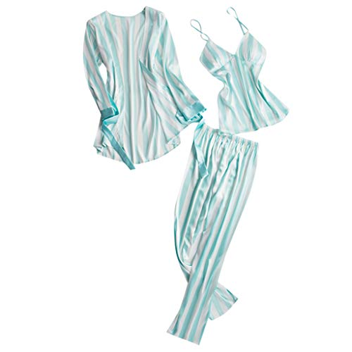 Xinantime- Women's Three Sets of Pajamas Satin Pajamas Set Silk Sleepwear Sexy Sling Nightwear Gift Lingerie Set Mint Green