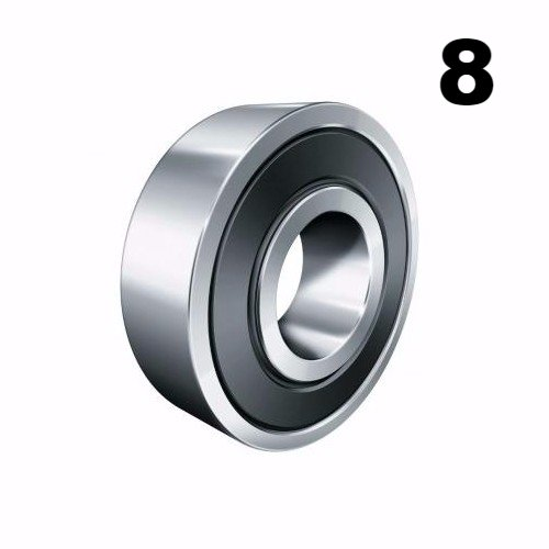 Eight (8) 608-2RS 8x22x7 Precision Double Shielded Greased Ball Bearings 608 RS ()