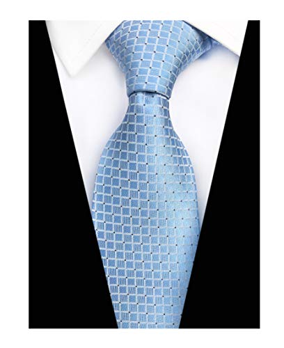 Elfeves Men Modern Tartan Formal Ties Checks Plaid Gingham Pattern Woven Necktie (One Size, Sky ()