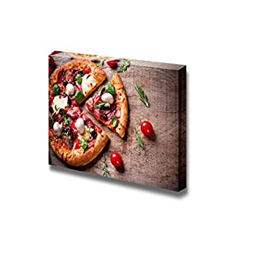 Canvas Prints Wall Art - Delicious Italian Pizza Served on Wooden Table | Modern Wall Decor/Home Art Stretched Gallery Canvas Wraps Giclee Print & Ready to Hang - 16