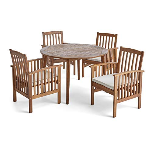 Great Deal Furniture Alma Acacia Patio Dining Set, 4-Seater, 47 Round Table with Straight Legs, Teak Finish, Cream Outdoor Cushions