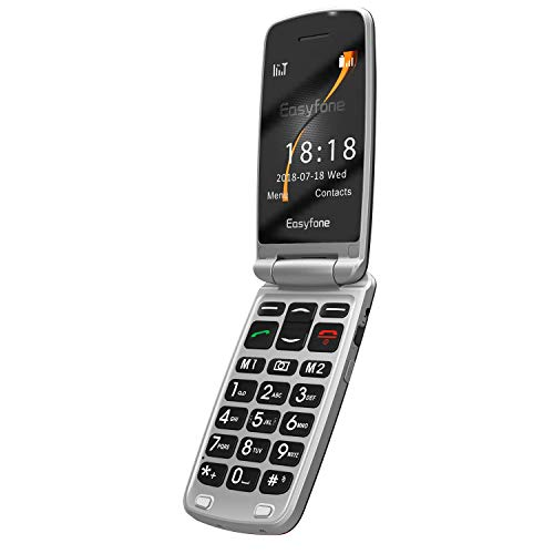 Easyfone Prime-A1 3G Unlocked Senior Flip Cell Phone, Big Button Hearing Aids Compatible Easy-to-Use Flip Mobile Phone with Charging Dock(Black)