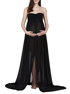 Women's Maternity Stretchy Cotton Sheer Chiffon Gown Split Front Maxi Photography Dress for Photo Shoot