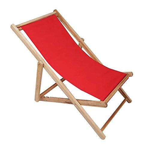 XUE Garden Folding Chair Neck Pillow Folding Beach Chair Wooden Deck Chair Outdoor Canvas Folding Chair Recliner Office Load 140kg (Color : Red)