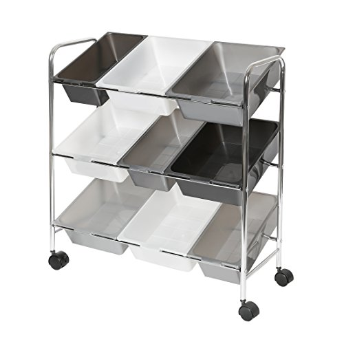 Seville Classics Mobile 9-Bin Storage Organizer, Gradient Gray (Mobile Containers Storage)