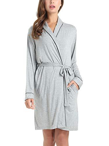 (Amorbella Womens Soft Bamboo Bathrobe Loungewear Robe with Pockets(Gray,Medium))