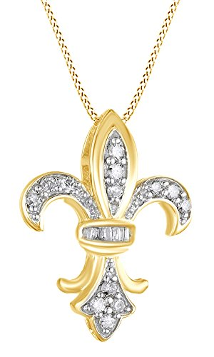 AFFY Mothers Day Jewelry Gifts 1/4 Ct Cubic Zirconia Fleur-de-Lis Pendant in 14K Yellow Gold Over Sterling Silver ()