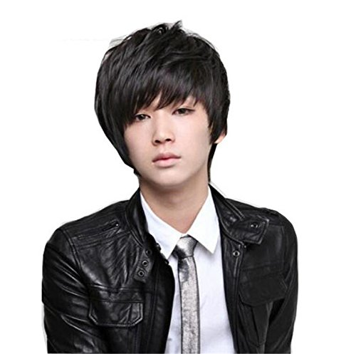 Cheap Cosplay Costumes Anime (ATOZWIG Heat Resistant Synthetic Hair Wig Male Men Costume Party Natural Black Short Cosplay Anime Peruca Perucas)
