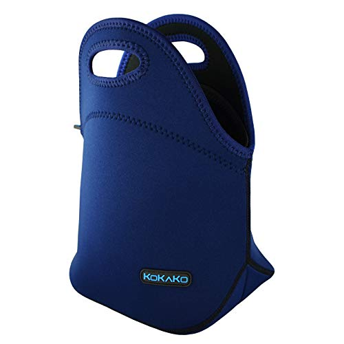 KOKAKO Lunch Boxes Neoprene Lunch Bag by Tote Washable Insulated Waterproof for Men Women Kids(Royal Blue)