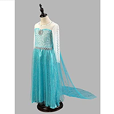 Daily Proposal FE9 Elsa Silver Mesh Dress Girl Halloween Costume 12M-8 USA: Clothing