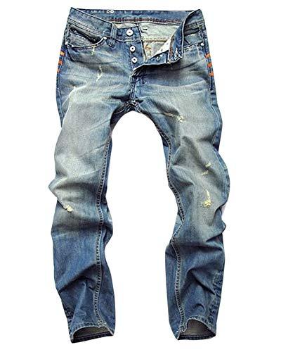 Hombre Ocio Pantalones,Vaqueros Rectos para Hombre, Pantalón Mezclilla Pantalones Vaqueros Destruido Ajustados Elásticos Slim Fit Rasgado Jeans A Estilo