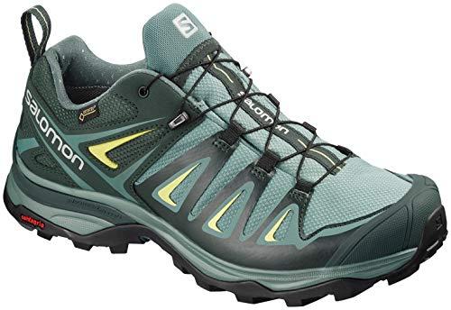 Salomon Women's X Ultra 3 Wide GTX W Hiking Shoe, Artic/Darkest Spruce/Sunny Lime ()