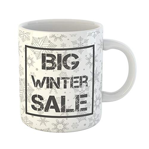 Emvency Coffee Tea Mug Gift 11 Ounces Funny Ceramic Big Winter Sale in Snowflake Shopping Header Sign for Selling Discount Gifts For Family Friends Coworkers Boss Mug