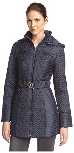 Quilted Laundry Coat (Laundry by Shelli Segal Women's Mini Quilted Stitch Jacket, Mystic Blue, XS)
