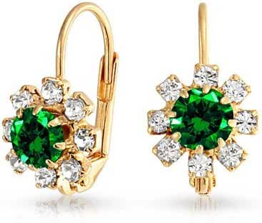 Simulated Emerald Crystal Flower Drop Earrings Gold Filled