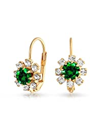 Bling Jewelry Simulated Emerald Crystal Flower Drop Earrings Gold Filled