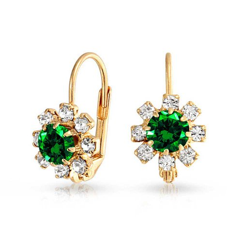 - Simulated Emerald Crystal Flower 18k Gold Plated Brass Drop Earrings