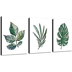 """arteWOODS Canvas Art Simple Life Green Leaf Painting Wall Art Decor 12"""" x 16"""" 3 Pieces Framed Canvas Prints Watercolor Giclee with Black Border Ready to Hang for Home Decoration"""
