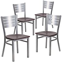 Flash Furniture 4 Pk. HERCULES Series Silver Slat Back Metal Restaurant Chair - Mahogany Wood Seat