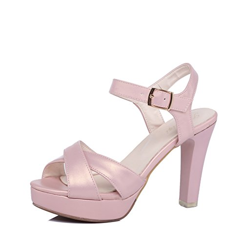 QIN&X Bloque de Mujer Tacones Peep Toe Sandalias Al Tobillo. Pink