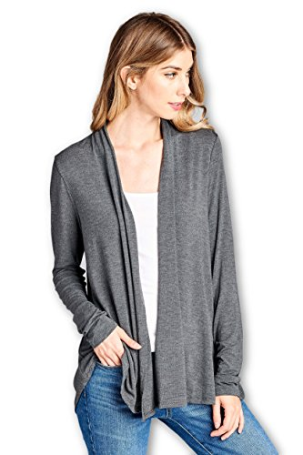 - ReneeC. Women's Extra Soft Natural Bamboo Open Front Cardigan - Made in USA (Large, Charcoal)