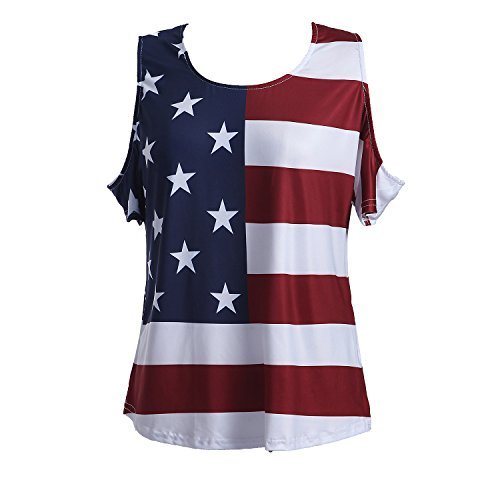 Taiduosheng Patriotic American Flag Off Shoulder Short Sleeve T-Shirt Top, Plus-Size 2XL