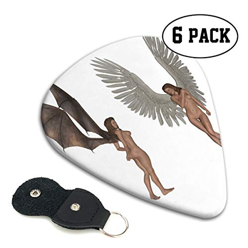Nice Music Cool Halloween Fantasy Naked Angel and Devil Ultra Thin 0.46 Med 0.71 Thick 0.96mm 4 Pieces Each Base Prime Celluloid Ivory Jazz Mandolin Bass Ukelele Plectrum Guitar Pick Pouch Display