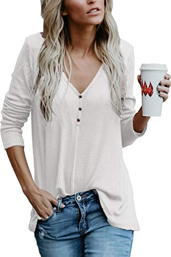 a68bb02ca7ad9 Chvity Women s Deep V Neck Blouse Waffle Knitted Sweater Flare Tunic Dress Henley  Shirts (White