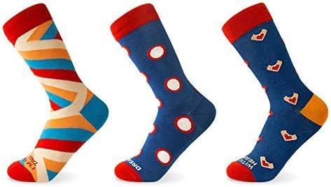 Funny Squared Colorful Cotton Fun Socks, Funny Crew Socks Gift Box